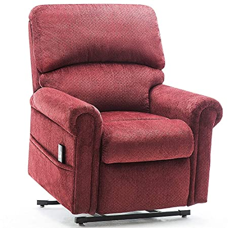 Power Lift Chair for Elderly Reclining Chair Sofa Electric Recliner Chairs with Remote Control Soft Fabric Lounge Red