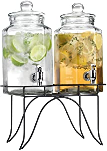 Del Sol Set Of 2 Glass Juice Beverage Dispensers On Rack