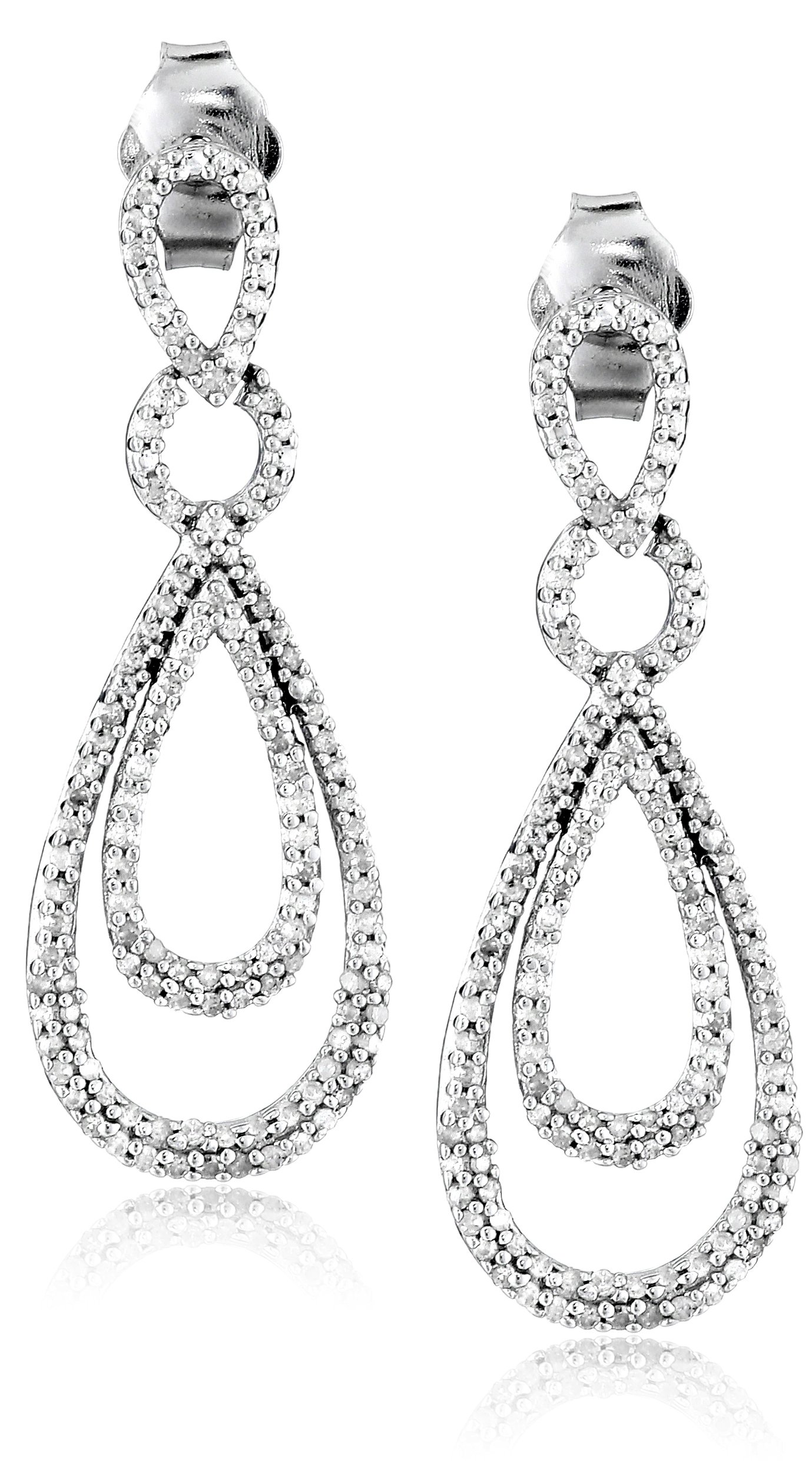 Sterling Silver Diamond Drop Earrings (1/2 cttw)