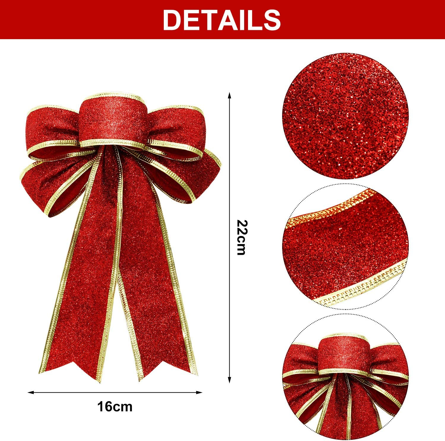 WILLBOND 12 Pieces Christmas Glitter Bows Large Christmas Tree Bows for Xmas Party Decoration 3 Colors