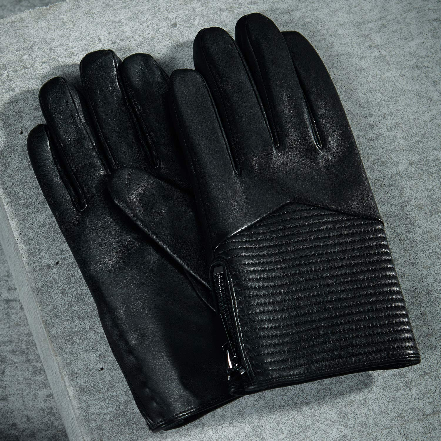 Fioretto Winter Gloves Men Warm Driving Leather Gloves Motorcycle Touchscreen Gloves Italian Nappa Cashmere Wool