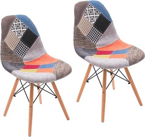 Homely Chaise à Manger rembourré en Tissu Inspiration Cool