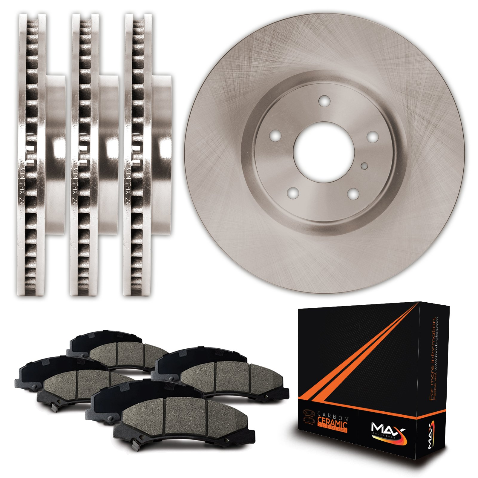 Max KT013843 Front + Rear Premium OE Replacement Rotors and Ceramic Pads Combo Brake Kit by Max Advanced Brakes