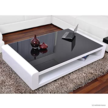 Table Basse Design Calypso Table Basse Blanc Brillant Vernis Amazon