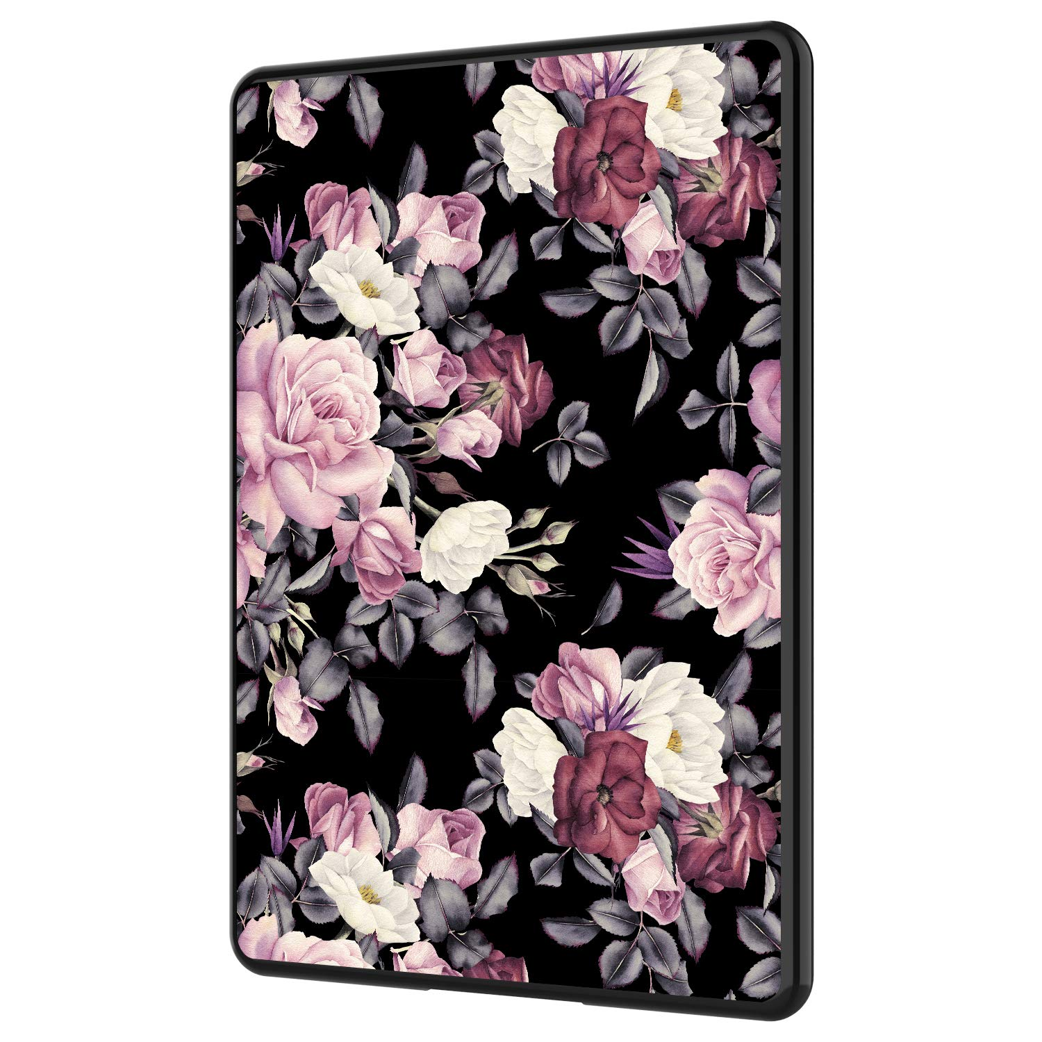 GCover Kindle Paperwhite Case, Slim Lightweight Scratch-Resistant Shockproof Flexible Soft Silicone Back Shell Cover Case for Amazon Kindle Paperwhite, Black - Pink Purple Floral