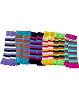 12 Pair Of excell Ladies Neon Striped Fashion Toe Socks #901