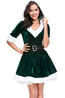 6dba663a195 Mrs. Claus Costume Christmas Role Play Outfits Hooded Dress for Women