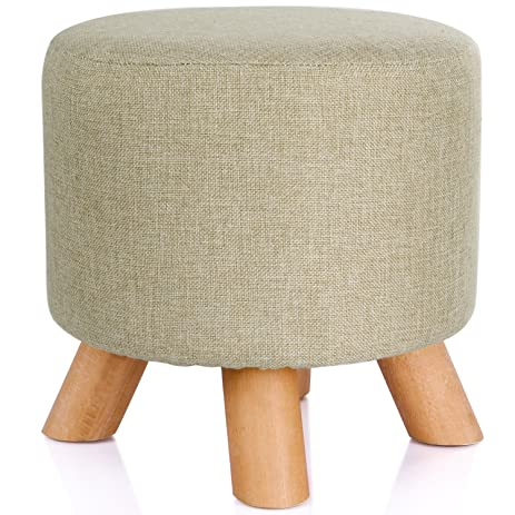Valdler Home Round Upholstered Ottoman Foot Stool in Script Linen Fabric  sc 1 st  Amazon.com : ottoman foot stool - islam-shia.org