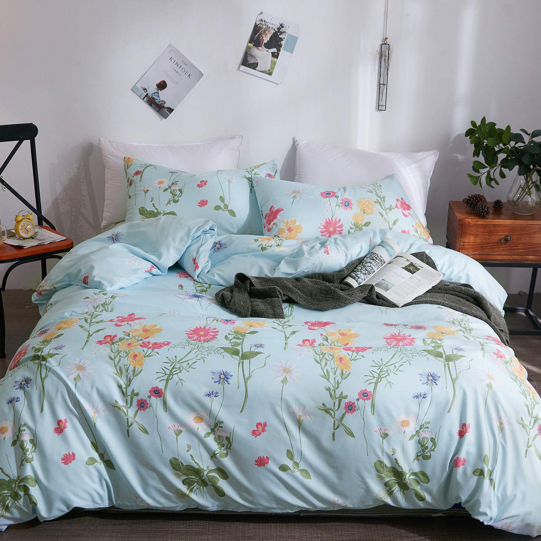 LAMEJOR Duvet Cover Sets Queen Size Colorful Little Daisy Pattern Luxury Soft Bedding Set Comforter Cover (1 Duvet Cover+2 Pillowcases) Blue