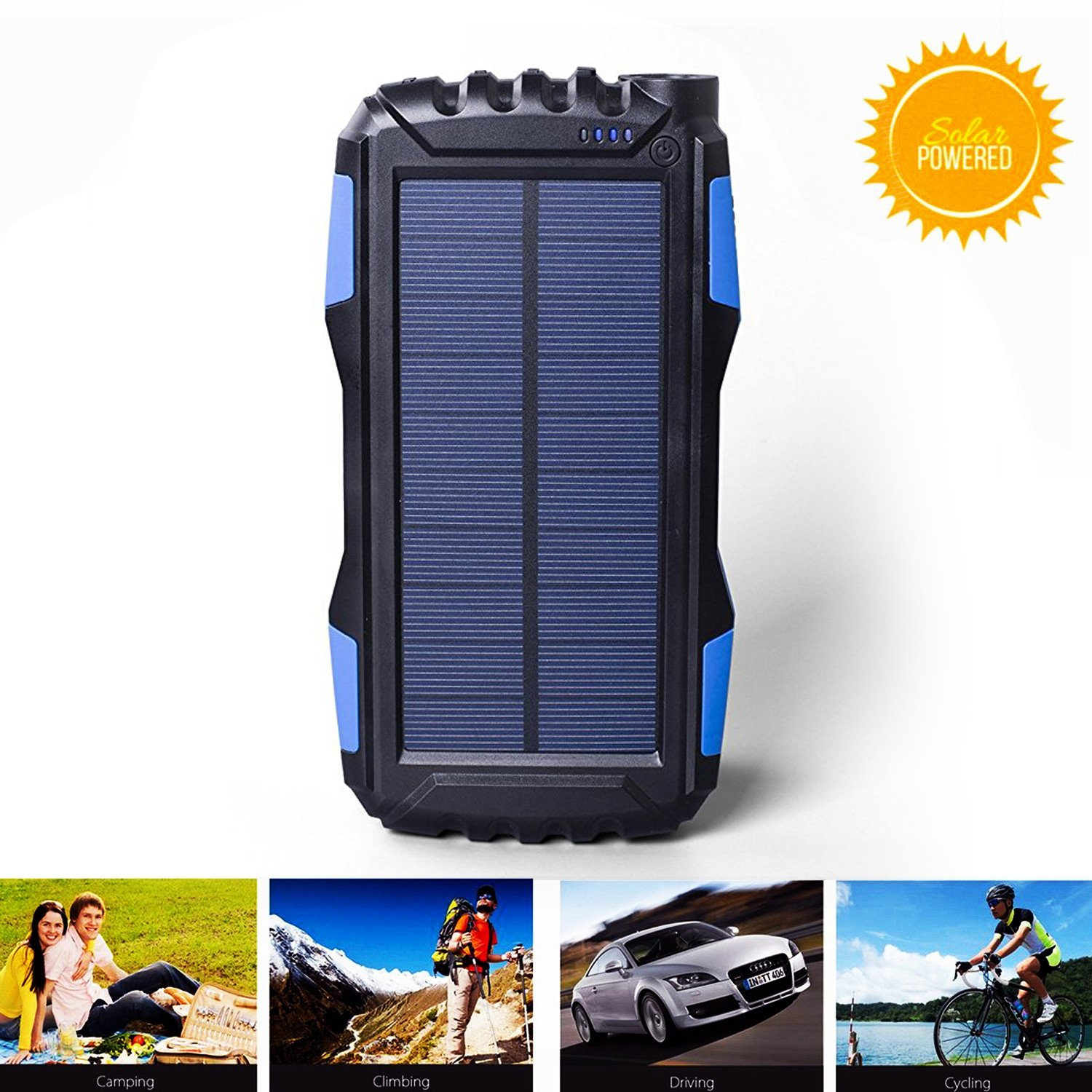 Solar Charger Kiizon 25000mAh Outdoor Portable Chargers Solar Power Bank Waterproof/Shockproof Dual USB Port External Backup Battery Powered Pack with Flashlight for iPhone, ipad, Smart Cell Phone, More 4335013708