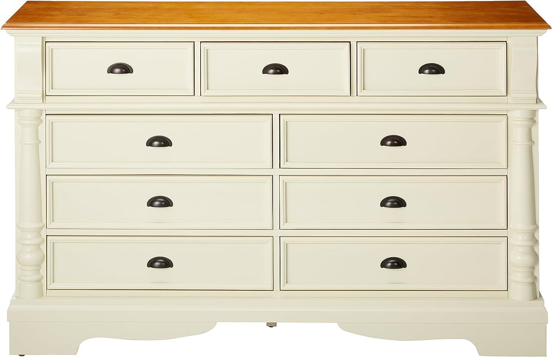 Amazon Com Oleta 9 Drawer Dresser With Bracket Feet Buttermilk And Brown Furniture Decor