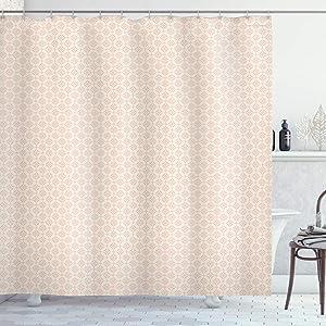 Ambesonne Shabby Flora Shower Curtain, Big and Little Graphic Flower Motifs Symmetric Retro Spring Pattern, Cloth Fabric Bathroom Decor Set with Hooks, 70