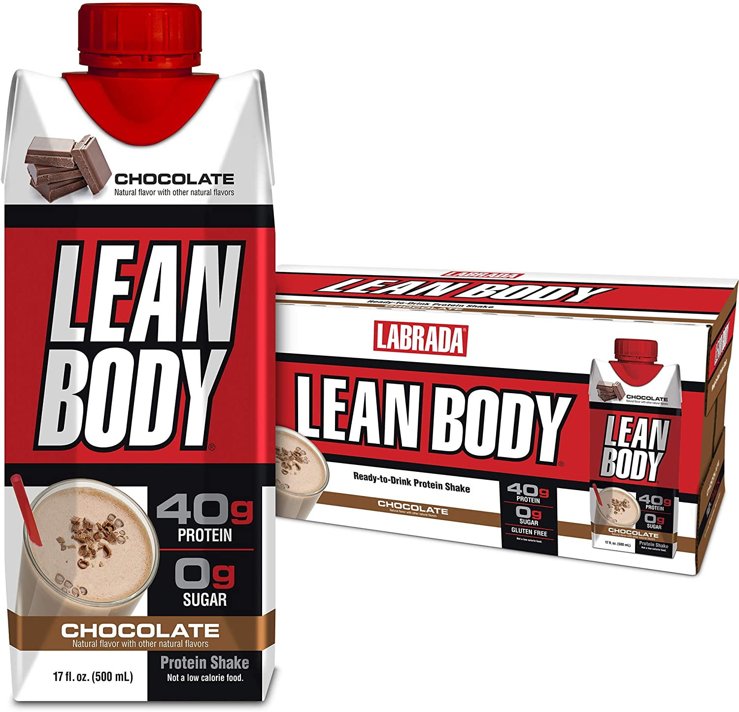 Lean Body Ready-to-Drink Chocolate Protein Shake, 40g Protein, Whey Blend, 0 Sugar, Gluten Free, 22 Vitamins & Minerals, (Recyclable Carton & Lid - Pack of 12) LABRADA: Health & Personal Care