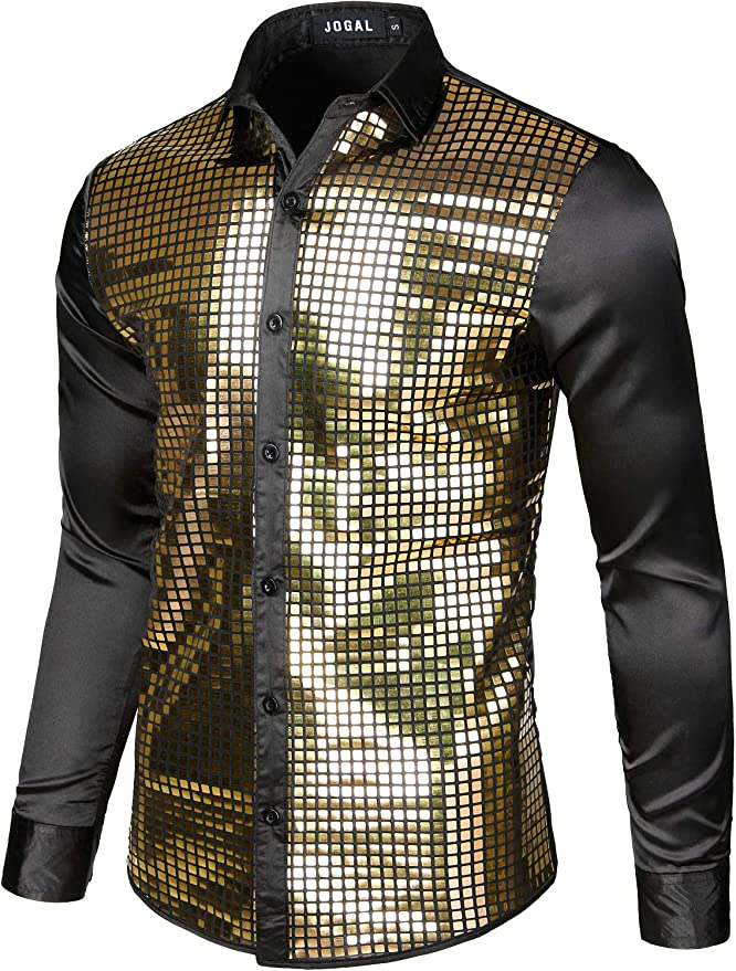 JOGAL Mens Dress Shirt Sequins Button Down Long Sleeve Shirts 70s Disco Party Costume
