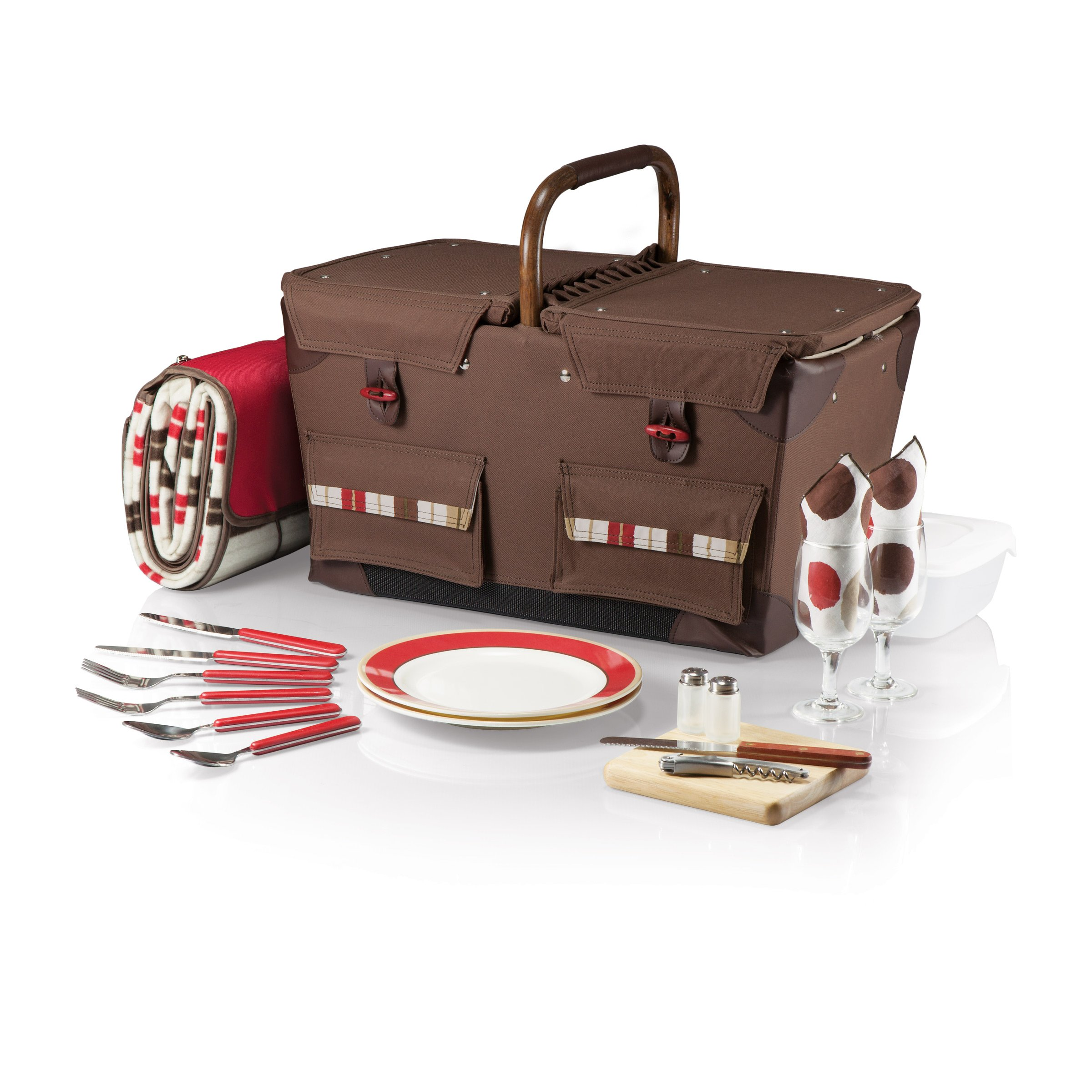 Picnic Time Pioneer Original Design Picnic Basket with Deluxe Service for Two, Moka Collection