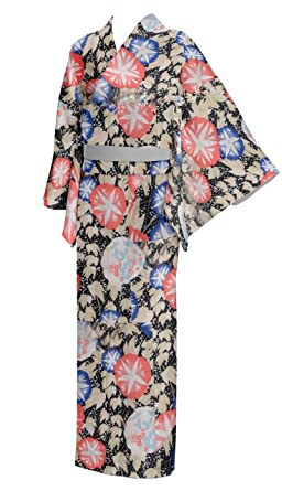 d9b14b49b4d7 Amazon.com  Japan Yukata Kimono Robe Cotton Women Size L Black ...