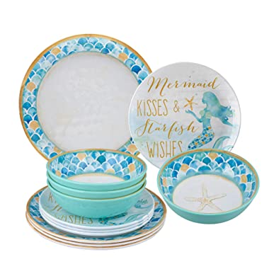 Gourmet Art 12-Piece Mermaid Melamine Dinnerware Set