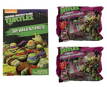 Valentine Nickelodeon Classroom Exchange Set for 30 with Valentines and Gummy Candy (Teenage Mutant Ninja Turtles)