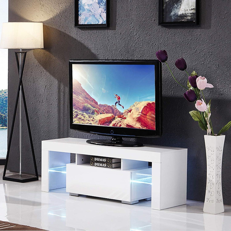 Amazon Com Suncoo Tv Stand Media Console Cabinet Led Shelves With