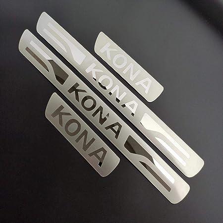 Lsybb 4 Stücke Einstiegspedal Edelstahl Aufkleber Streifen Protektoren Auto Styling Schutz Für Hyundai Kona 2017 2020 Auto