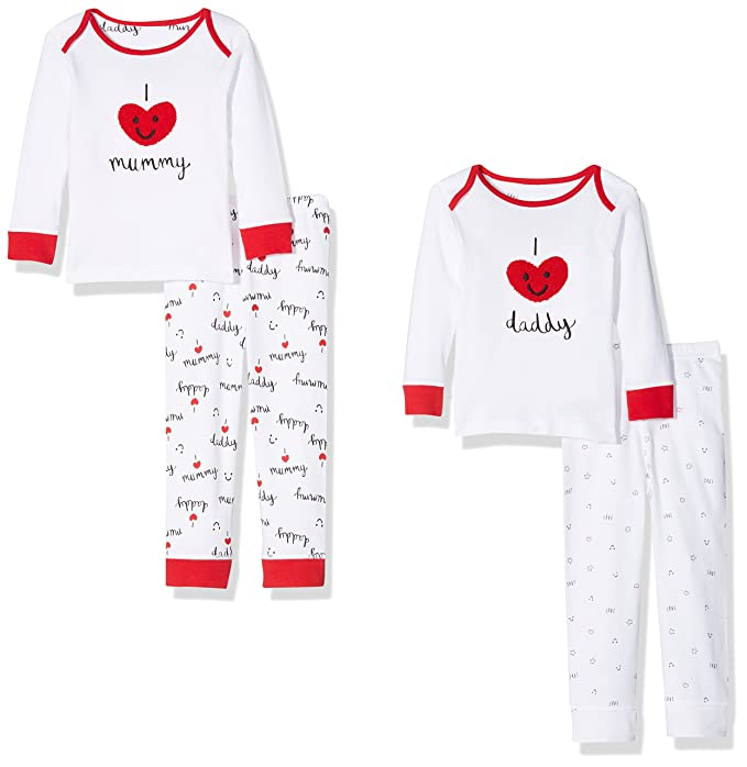 Mothercare Mummy & Daddy, Conjuntos de Pijama Unisex bebé, (Black/White 347