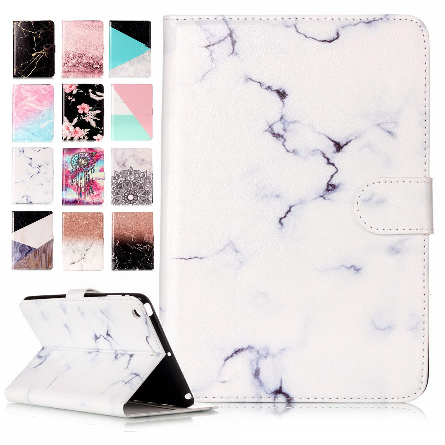Samsung Galaxy Tab A6 10.1 Inch T580N T585N Case White, LA-Otter PC Tablet Samsung Galaxy Tab A SM-T580/T585 (2016) Leather Case Marble Flip Cover Protective Smart Wallet Case 360 Full Body Protection + TPU Silicon Gel Rubber Bumper Back Cover Folio Shock