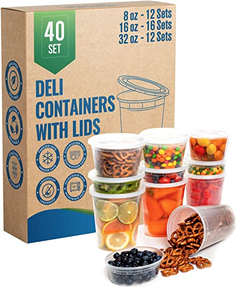 50 Pack 32 oz Durable Deli Food//Soup Plastic Containers w// Lids and Airtight