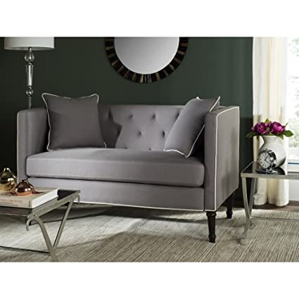 Safavieh Home Collection Farah Taupe And White Tufted Settee