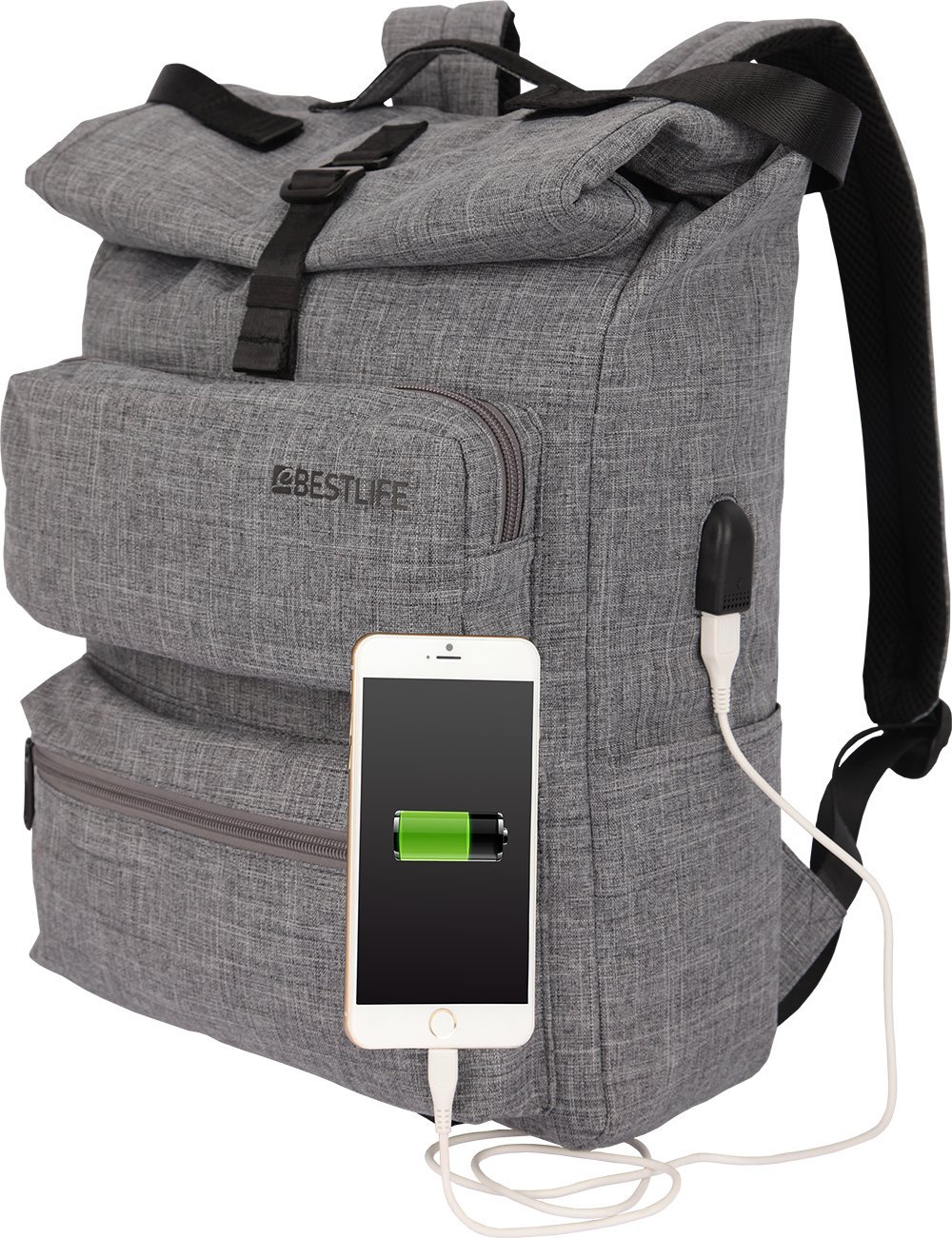 Bestlife Laptop Backpack with USB Charging Port Fits up to 15.6-Inch Laptop and Notebook for Men/Women School College Business Rucksack (Grey) good
