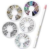 Sinsun Professional Manicure Nail Art Decorations Set-1000 Pcs Mixed Colors Rhinestones ,1000pc Mixed Sliver Crystal Gemstones + 240pcs 3D Gold And...?