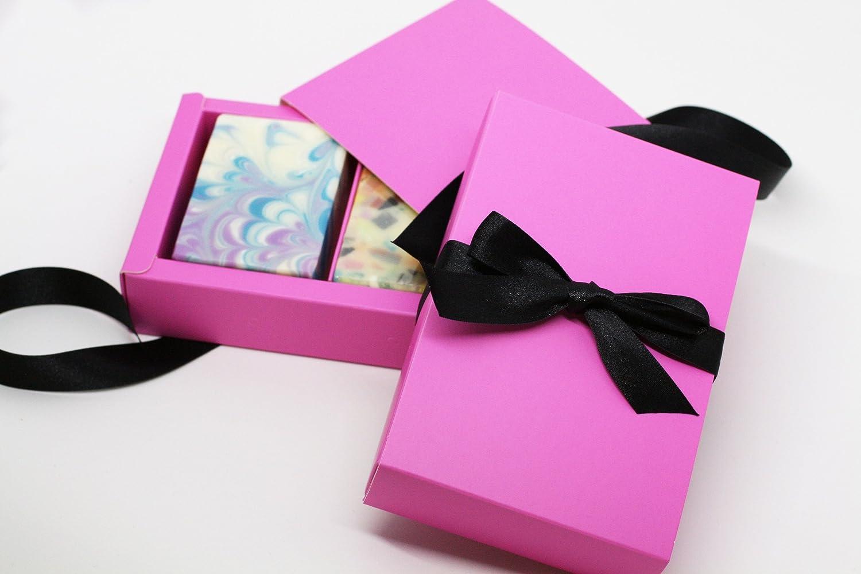Amazon.com: Hot Pink Organic Handmade Soap Gift Boxes - 2 soaps ...