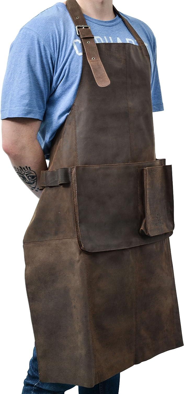 Gusti Leder studio Sander Grembiule protettivo in vera pelle di bufalo grembiule da lavoro per utensili con interno impermeabile marrone scuro 2G27-L-20-9wp