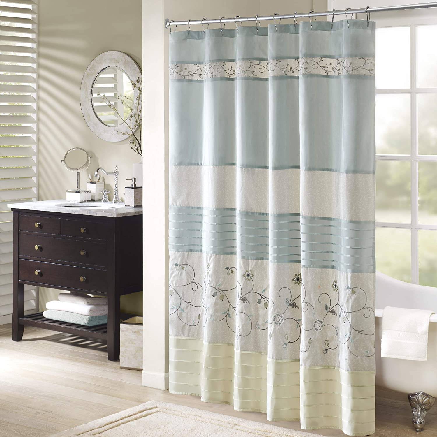 Amazon Madison Park Serene Faux Silk Embroidered Floral Shower Curtain Aqua 72x72 Home Kitchen