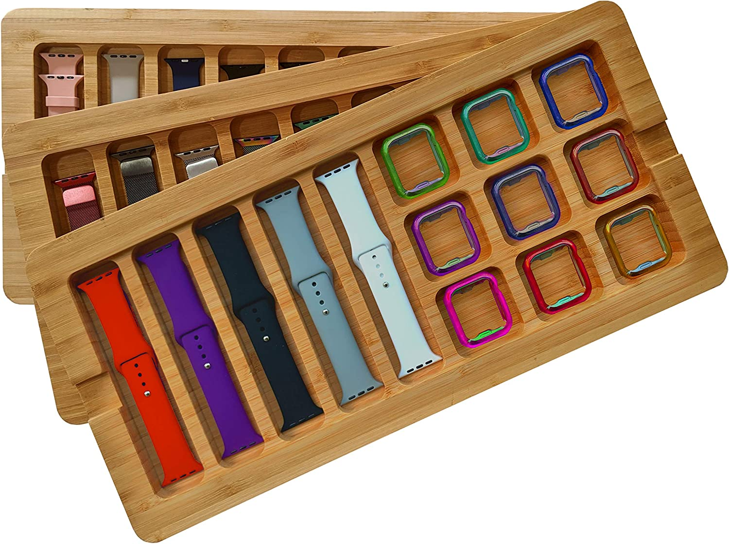 Stackable Bamboo Storage Tray for Apple Watch Bands (Stores 5+ Bands, Stores 9+ Covers, Wood, Includes Cover)