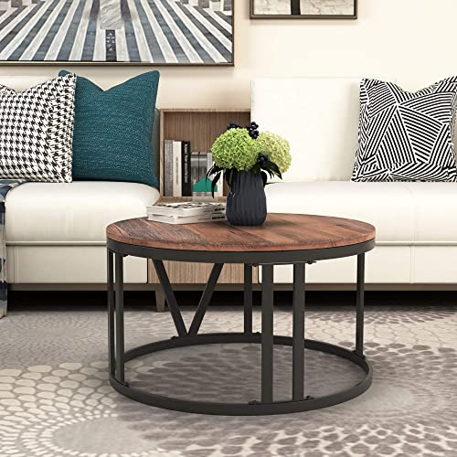 Round Coffee Table Industrial Old Elm Wood Coffee Table Rustic End Table with Roman Numerically Shaped Iron Legs,Brown 31.5 Dia