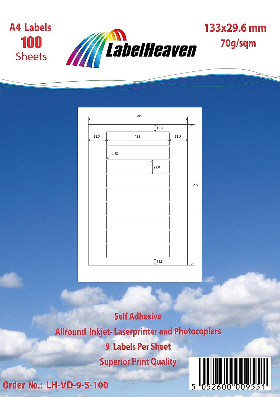 LabelHeaven LH-VD-24-8-100 Universal Etiketten 100 Blatt