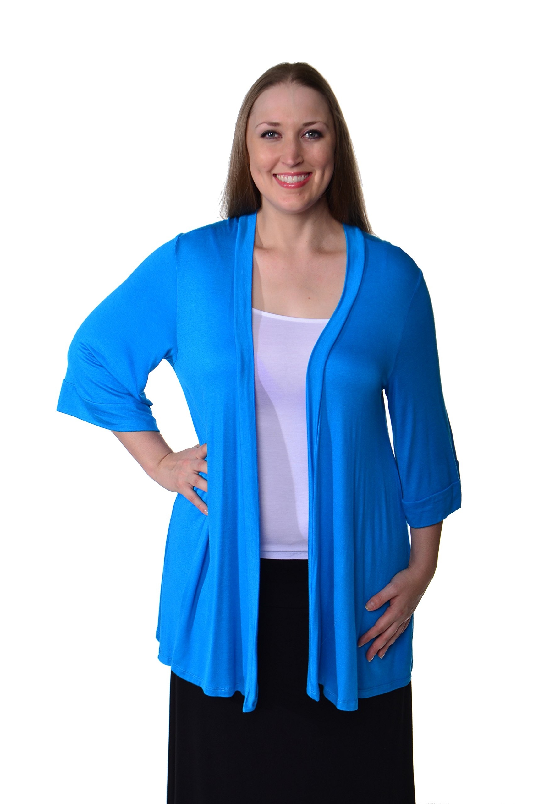 24/7 Comfort Apparel Plus Size Cardigan 3/4 Sleeve Open Neck Top for Womens Plus Size Clothing - Made in USA - 2XL (Turq)