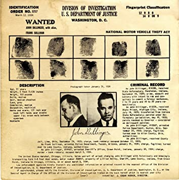 John Dillinger Wanted Poster Photo American Gangsters Historical Posters  Photos 12x12  Criminal Wanted Poster