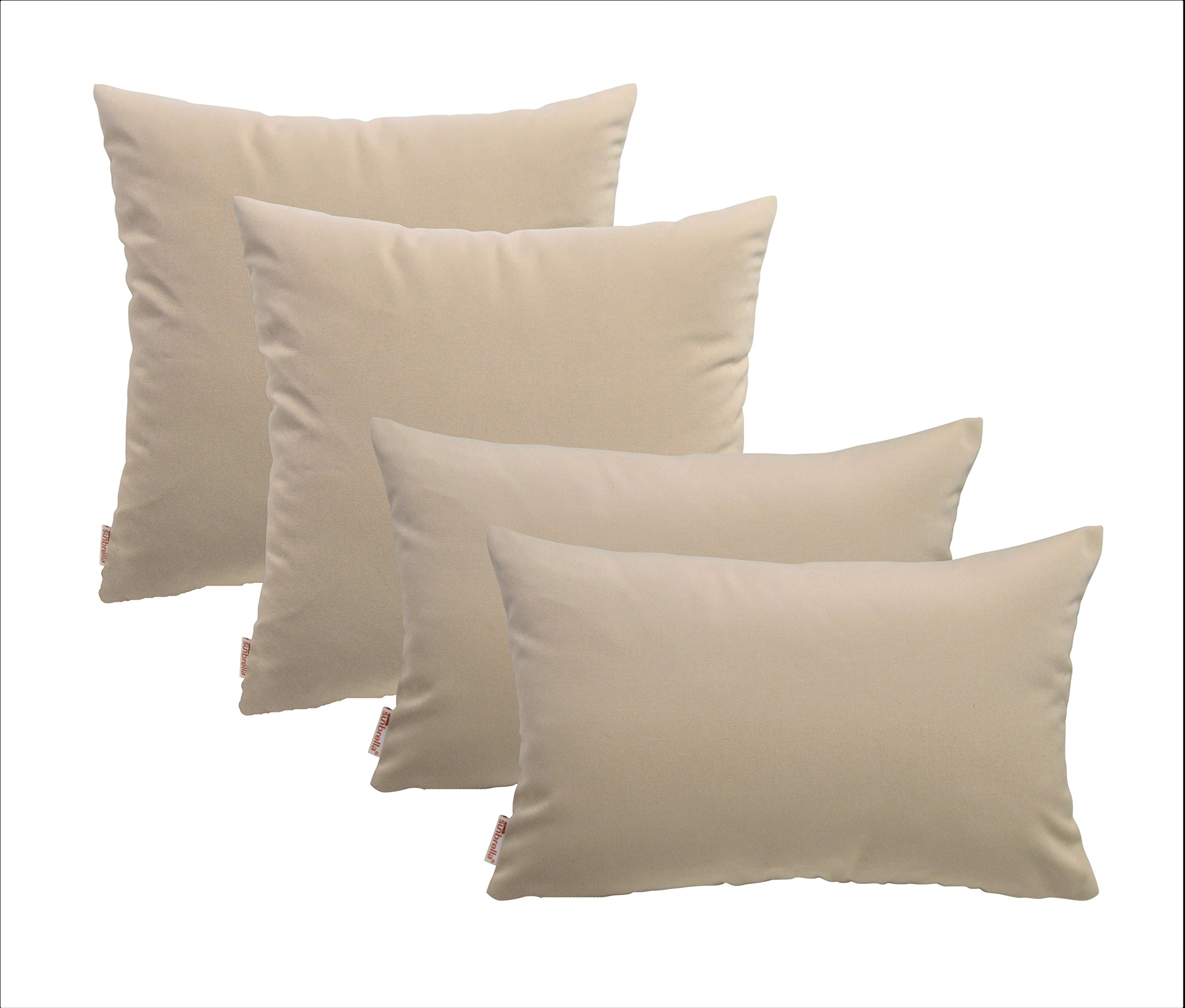 RSH Décor Set of 4 Indoor Outdoor Pillows- 20'' x 20'' + 12'' x 20'' Square & Rectangular/Lumbar Pillows-Sunbrella Canvas Canvas Beige/Tan