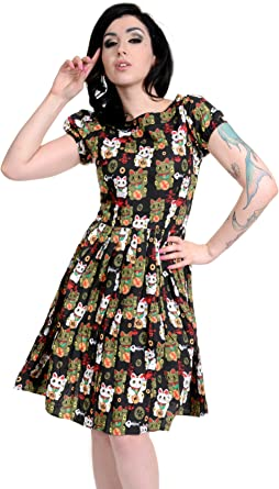 Ladies 50s Retro Vintage Japanese Lucky Cats Pleated Swing Pin Up Dress 8 to 18