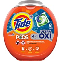 Tide PODS 4 in 1, Ultra Oxi, Laundry Detergent Liquid Pacs, 61 Count - Packaging May Vary