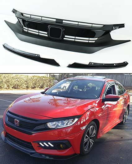 FOR 2016 17 HONDA CIVIC 10TH GEN BLACK JDM RS STYLE FRONT HOOD GRILLE +