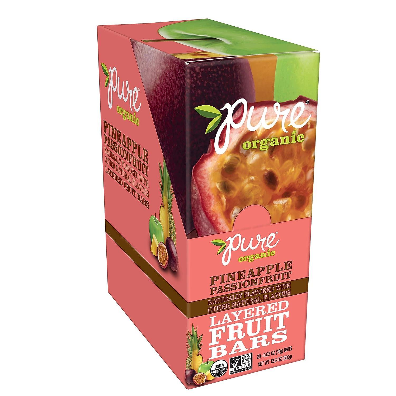 Pure Organic, Layered Fruit Bars, Pineapple Passionfruit, Gluten Free and Vegan Fruit Snacks, 12.6oz (20 Count)