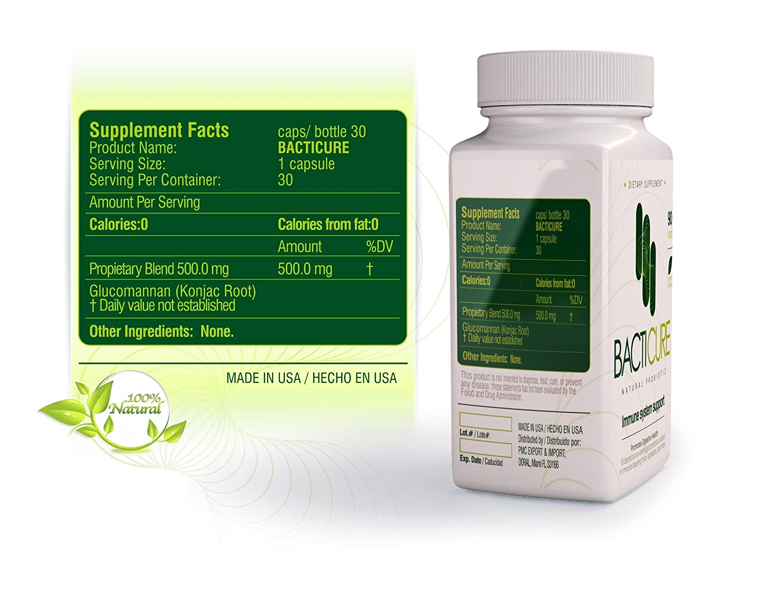Amazon.com: BACTICURE (3) Probiotic Probiotico Natural ORIGINAL: Health & Personal Care