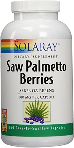 Solaray Saw Palmetto Berry 580mg Healthy Prostate Support from Fatty Acids Plant Sterols Non-GMO, Vegan Lab Verified 360 VegCaps