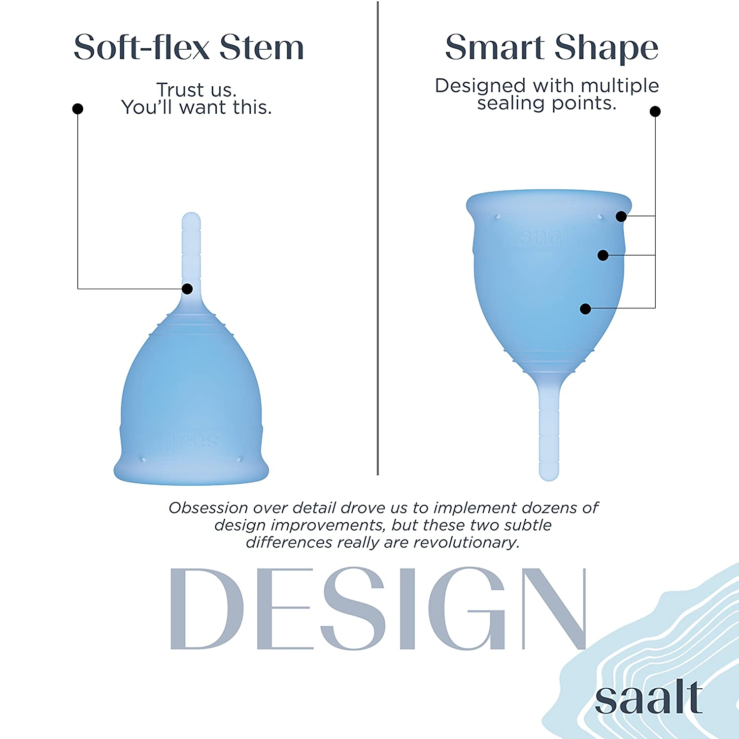Most Comfortable Period Cup Small, Himalayan Pink Wear for 12 Hours Reusable Medical-Grade Silicone Premium Design Flexible Saalt Menstrual Cup #1 Active Cup Soft