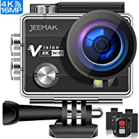 JEEMAK ACT74R Action Camera 16MP 4K WiFi Waterproof Sports Camera with Remote Control