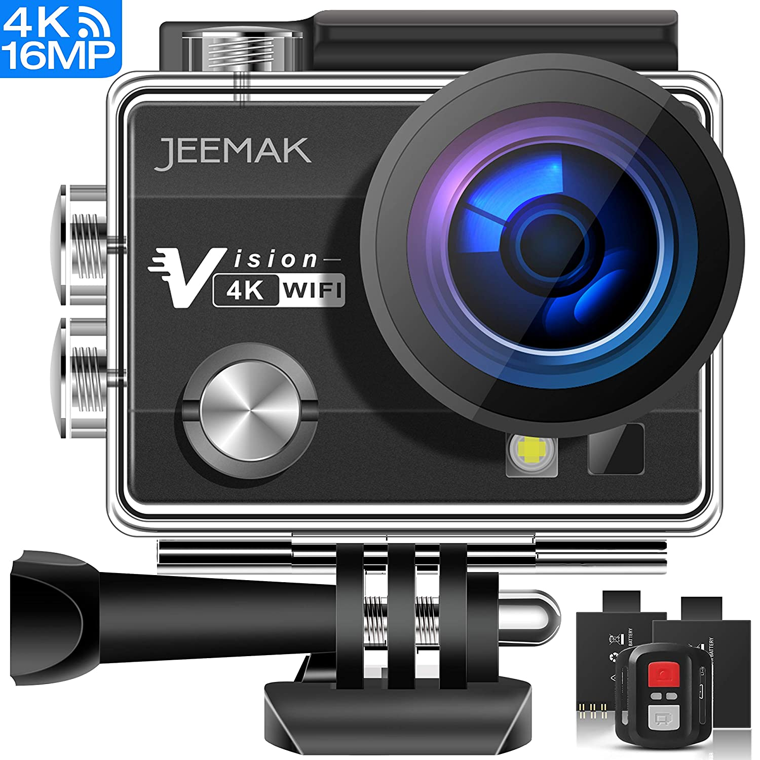Black JEEMAK ACT74R Action Camera 16MP 4K WiFi Waterproof Sports Camera with Remote Control