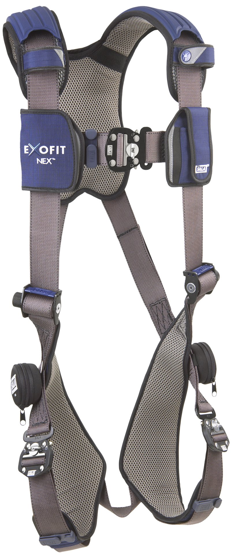 3M DBI-SALA ExoFit NEX 1113001 Vest Style Harness, Aluminum Back D-Ring, Locking Quick Connect Buckles, Small, Blue/Gray