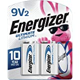 Energizer 9V Lithium Batteries, Ultimate Lithium 9 Volt Batteries (2 Battery Count)
